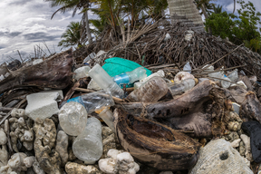 Plastic Waste on Beach in Micronesia