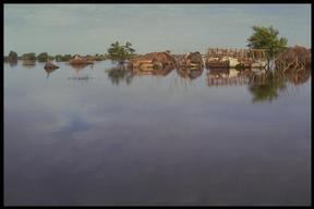 Flooded villages in Juba river basin, Somalia. Climate change effects.