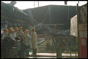 4th generator at Chernobyl nuclear power plant, Ukraine.  The area was damaged by a fire on 11 October 1991.