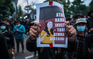 Students Protest against Omnibus Law in Bandung