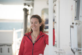 First Mate Maria Martinez Rami on the Rainbow Warrior in Australia