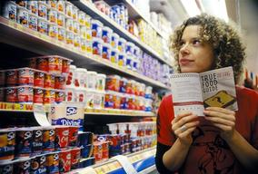 "Activist with the ""True Food Guide"" in Australian Supermarket"