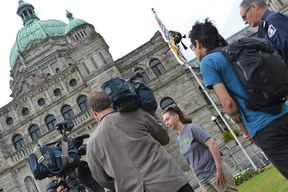 Action at British Columbia Parliament to Deliver Message to Greens and NDP Parties