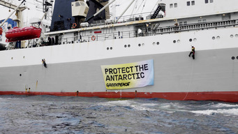 Protest on Krill Fishing Ship in the Antarctic