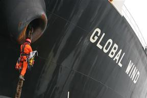 Activist Chained to the Anchor Chain of Bulk Carrier in Brazil