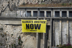 'Climate Justice Now' Banner at G7 Summit in Italy