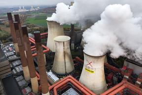 Aerial View of Protest at RWE Neurath Power Station in Germany