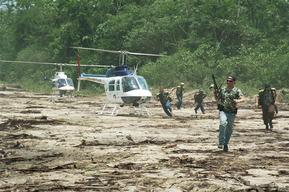 Brazilian government officials raiding an illegal logging site, Carajari River, Middle Land, Brazilian Amazon.