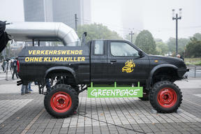 Protest with Monster Truck at the IAA in Frankfurt