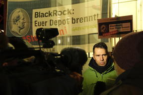 Siemens Protest at Blackrock Headquarters in Frankfurt