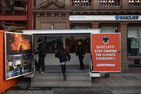 Pop-up Exhibition Blocks Barclays Bank in Belfast