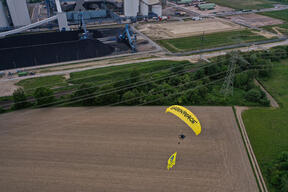 Flying Protest against the Power Plant Datteln 4 in Germany (Aerial)