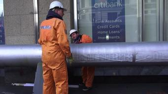 Activists Install Pipeline at Citibank in Sydney - B-roll