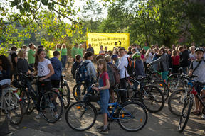 Human Chain Action for Safe Bike Lanes in Berlin