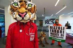 Action at RCS Headquarter in Milan