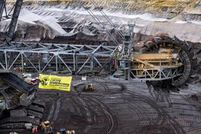 Protest at Garzweiler Coal Mine in Germany (Aerials)