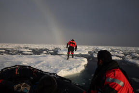 Crew and Inflatable in the Arctic