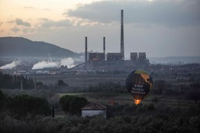 Hot Air Balloon Action against Kolin Group in Soma, Turkey