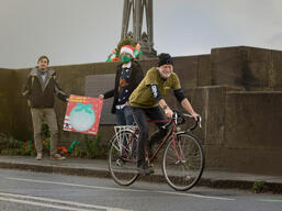 Greenpeace volunteers in Chester ask for a Green Recovery