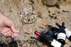 Wine Glass with Gravel in France