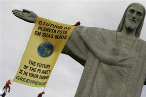 Banner Action on Christ Statue in Rio de Janeiro