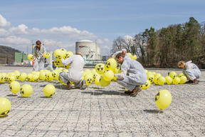 The Scream Re-created with Balloons at Beznau Nuclear Power Plant