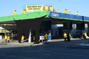 Arctic Drilling Protest at OMV Gas Station in Vienna