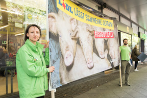 Protest for Better Meat at Lidl in Cologne