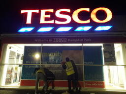 Volunteers Rebrand Tesco's Shop Windows in Easbourne, UK