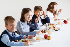 Children Eating Ecological Food in Hungary