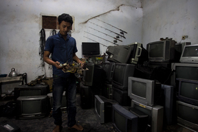Man Collects Electronic Waste in Jombang