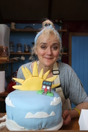Actor Sophie Thompson in the Frack Free Bake Off in Lancashire, UK