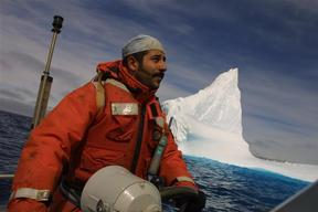 Greenpeace activist Mehdi Moujbani during Southern Ocean Whaling Expedition.