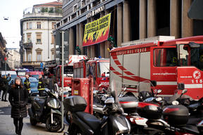 Action at Intesa Sanpaolo Headquarters in Milan against Coal Funding
