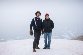 Actors Alexander Skarsgård and Jack McBrayer in Greenland