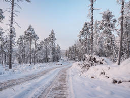 Snowy Road in Finland
