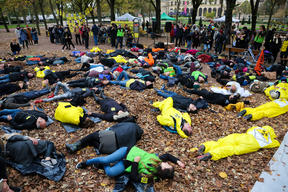 Die-in in front of the Appeal Court in Metz