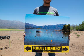Climate Emergency Action at Laguna de Aculeo in Chile
