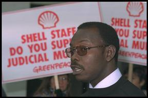 Protest outside Shell International HQ in London following execution of Ogoni leader Ken Saro-Wiwa in Nigeria.