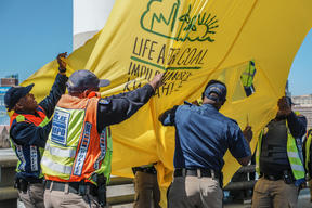 Action at Mandela Bridge in South Africa