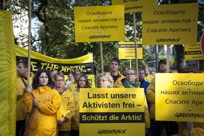 'Free the Arctic 30' Protest at Embassy in Hamburg