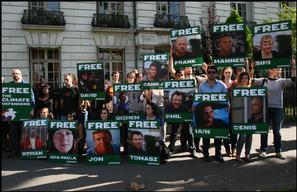 'Free the Arctic 30' Protest at Embassy in Paris