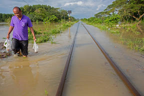 Flooded Railway Tracks after Pabuk Cyclone in Thailand