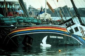 Aftermath of Shipwreck after the Rainbow Warrior Bombing in NZ